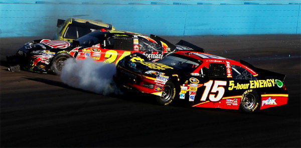 Clint Bowyer (15) and Jeff Gordon (24) collide on track.