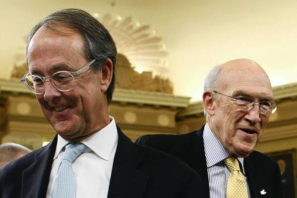 The Can Kicks Back's advisory board includes Erskine Bowles, left, and Alan Simpson, the former co-chairs of the National Commission on Fiscal Responsibility and Reform that developed a sweeping deficit-reduction plan.
