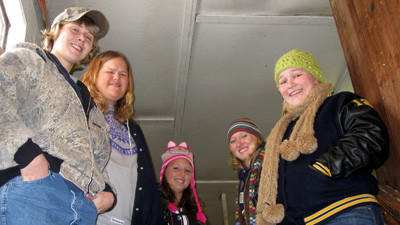 Students pause for a photo on their trip to the Friend's Stockyard in Accident, Md. last year. From left: Brittany Diehl, Baillie Butler, chaperone Trisha Younkin, Riley Papson and Shelby Burkett.