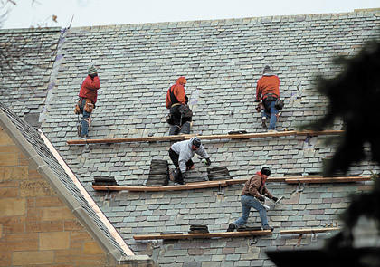 Garlock-French Corp. employees will stress-test the old slate shingles and, if they pass, they will be reincorporated into the roof.
