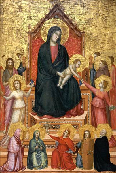 """The Virgin and Child Enthroned With Saints and Allegorical Figures,"" by Giotto di Bondone."
