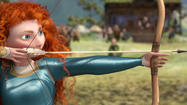 "The Disney studio added another member to its collection of animated princesses with a story that seems to have taken a cue from ""The Hunger Games,"" since its heroine (voiced by Kelly Macdonald) is proficient with a crossbow."