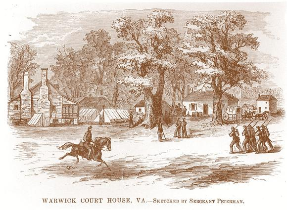 This Civil War print shows the Union encampment on the grounds of the Warwick County Courthouse complex.