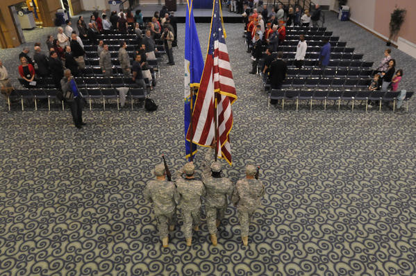 NEW BRITAIN--11/12/12--A U.S. Army Color Guard, including Sgt. Andre Mack, of Windsor, Specialist Justin Hackett, of Terryville, Sgt. David Smith, of Farmington and Specialist Craig Riel, of Bristol opened the Veterans Day Observance Ceremony at Central Connecticut State University Monday afternoon. Veterans honored at the ceremony were Robert Nowick, of Berlin, U.S. Navy; Sgt. Linnai-Anne Camacho, of New Britain, U.S. Army;  and Specialist Jesse Caruso, of Cromwell, U.S. Army.