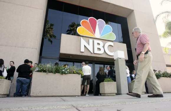 People wait outside NBC Studio in Burbank in 2009.