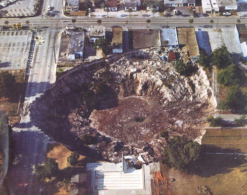 An aerial view of the Winter Park sinkhole in 1981.