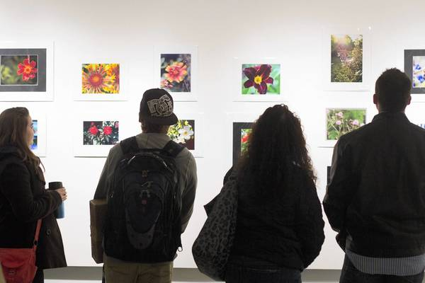 Judson University students look at the 1,440 photography exhibit - an annual project that allows Elgin residents to take a photo in the city. This year's theme involved nature in Elgin.