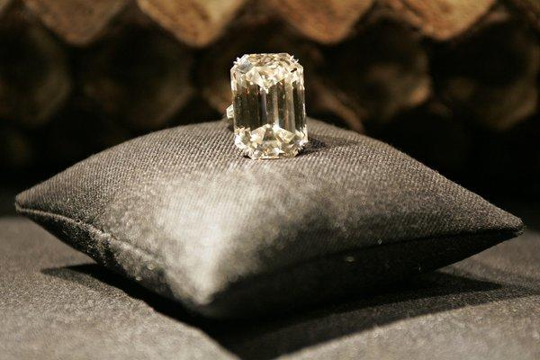 The 71.73-carat Lesotho diamond at Harry Winston Diamond Corp.'s flagship Beverly Hills salon. The company is buying a Canadian diamond mine for $500 million.