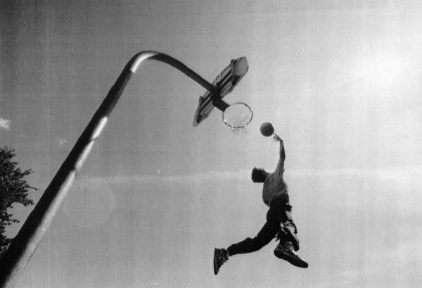 Doug Wagner of Hoffman Estates does his best Michael Jordan impersonation at Virginia Terrace Park in Arlington Heights on Sept. 25, 1991.