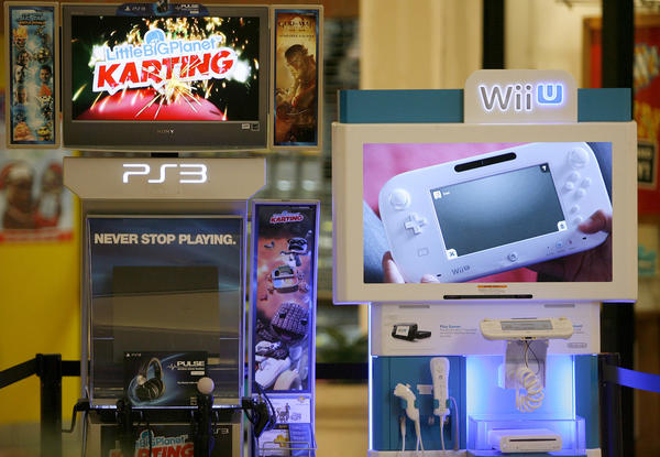 The Sony PS3 and Nintendo Wii U systems from the Glendale Galleria's Planet X game store were shown during holiday press conference at the Glendale indoor mall on Tuesday, Nov. 13, 2012. There were no prices available for these systems.