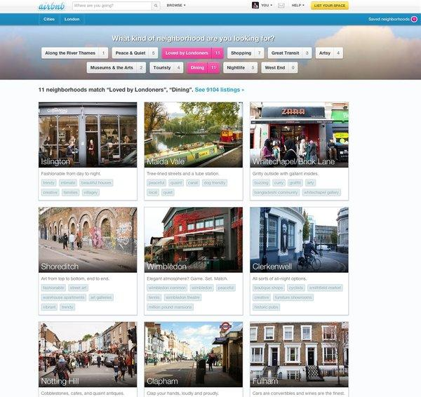 A new service from Airbnb gives photographs and information about neighborhoods in seven cities, including London
