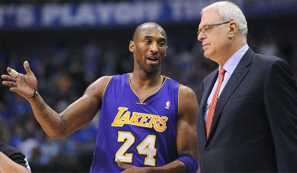 Kobe Bryant with then-Lakers coach Phil Jackson during the 2011 playoffs.