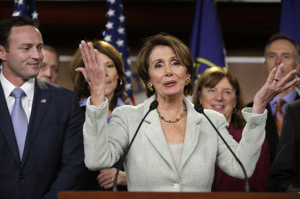 House Minority Leader Nancy Pelosi at a news conference on Capitol Hill in Washington.