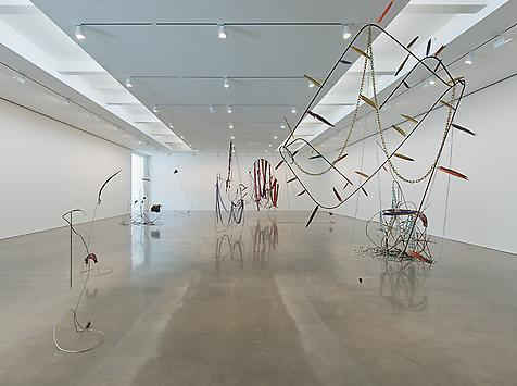 "An installation shot of Abraham Cruzvillegas' ""Autodestruccin 1"" (2012). His themed sculptures are at Regen Projects."