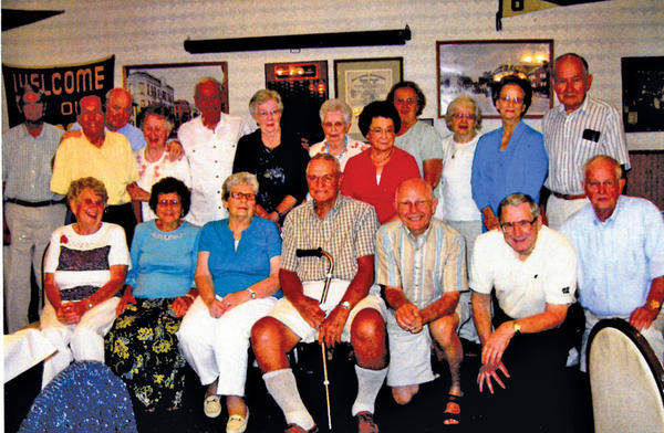 The Smithsburg High School Class of 1949 gathered Aug. 11 at the Parlor House in Waynesboro, Pa., for its 63rd reunion. The class graduated 36 students and 11 attended the reunion. There were a total of 19 people at the reunion, including graduates and spouses. First row, from left, Lucille Harne, Betty Monn, Dorothy Martin, Joseph Slick, Charles Trite, Donald Brown and Theodore Fleagle. Back row, David Martin, Gene Cowan, Gerald Brown, Jean Brown, Charles Newcomer, Elaine Harbaugh, Frances Swigert, Jane Kline, Marlene McCleaf, Nancy Winders, Ravenna Kline and Richard Larimore.