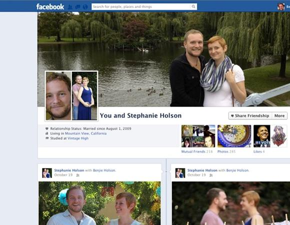 New look for Facebook's 'Friendship Pages' for couples and friends.