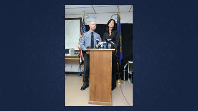 Pennsylvania State Police spokesman Stephen Limani and District Attorney Lisa Lazzari-Strasiser take questions from reporters at a press conference in Somerset on Tuesday.