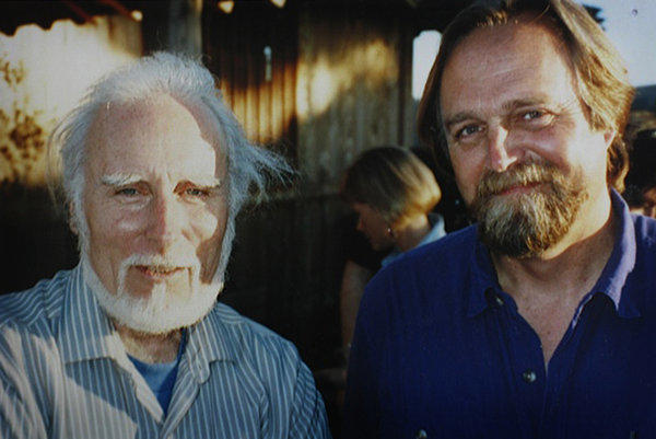 Poet Jack Gilbert, left, with Bill Mayer in the 1990s.