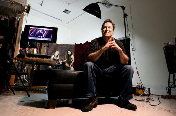 Glenn King, owner/director of Mean Bitch Productions, is photographed at a film studio in Chatsworth.