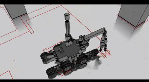 A screen grab from an animation by Theometrics of a prototype precision layout robot.