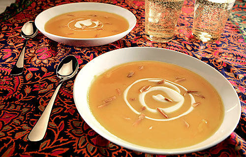 A DROP OF ACIDITY: This creamy butternut squash soup can benefit from a little bit of apple cider vinegar. The vinegar by itself has an identifiably apple flavor, but when added to the soup it disappeared, leaving a pronounced squash flavor.