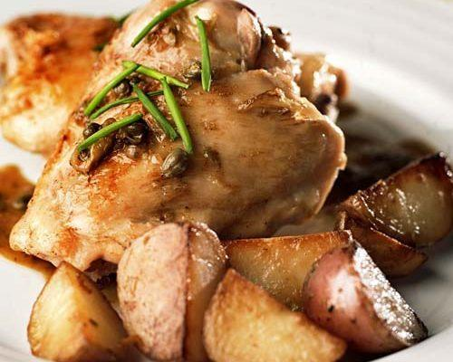 Braised chicken with capers.