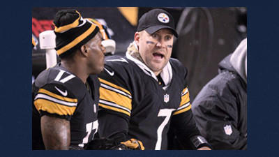 Pittsburgh Steelers quarterback Ben Roethlisberger (7) talks with wide receiver Mike Wallace (17) on the bench during an NFL football game against the Kansas City Chiefs on Monday. Roethlisberger left the game in the third quarter after sustaining a shoulder injury.
