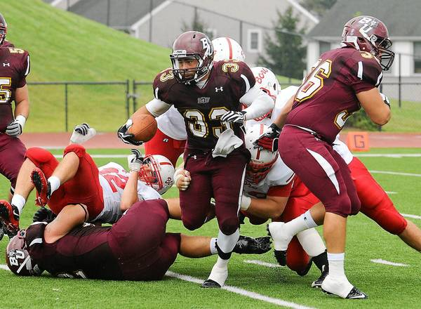 Bloomsburg University football player Eddie Mateo (33) from Freedom High School.
