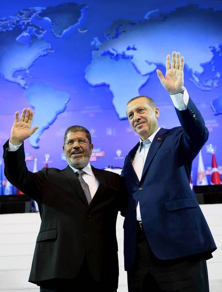 Egyptian President Mohamed Morsi, left, and Turkish Prime Minister Recep Tayyip Erdogan in Ankara, Turkey, in September.