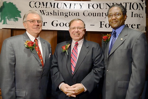 Ronald Wayne Taylor, left, Jim Marshall and Noel Williams are the 13th annual People's Choice Award recipients. The foundation also gave a surprise award to Lou Scally (not pictured) of WHAG-TV and WJEJ radio for his longstanding support of the foundation and the community.
