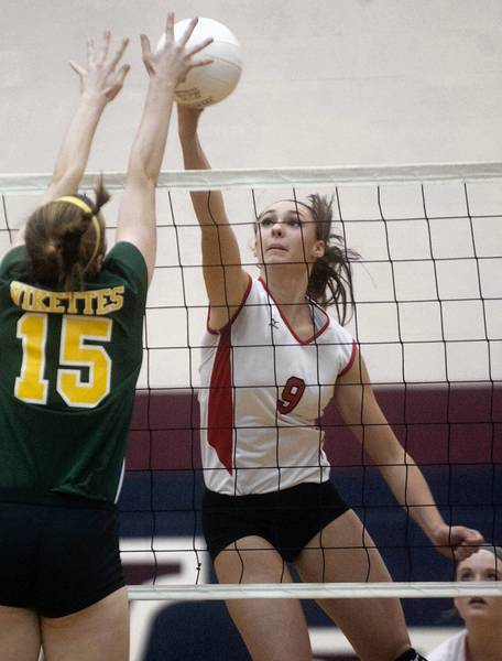 Parkland's Kelly Robertson hits against Central Catholic in the Lehigh Valley Conference girls volleyball semifinals at Liberty.