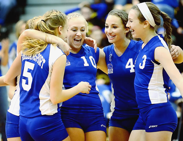 Williamsport's Courtney Malott (5), Haley Wolff (10), Brooklyn Welch (4) and Alexis Cline (3) celebrate their sweep of Loch Raven on Tuesday in the Maryland Class 2A state semifinal in College Park, Md.