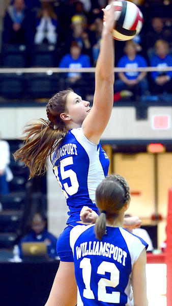 Williamsport's Lindsey Mowbray sends a return over the net on Tuesday during the Wildcats' sweep of Loch Raven in the Maryland Class 2A state semifinal in College Park, Md.