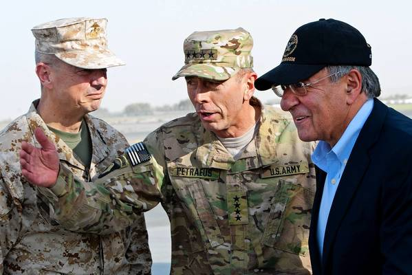 Gen. John Allen, left, Gen. David Petraeus and Defense Secretary Leon Panetta in Kabul, Afghanistan, last year. The Pentagon is investigating emails Allen sent to Florida socialite Jill Kelley, who is also a friend of Petraeus.