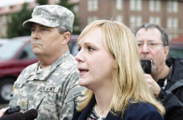 Emma Scanlan, right, the civilian defense attorney for U.S. Army Staff Sgt. Robert Bales, with Bales' military defense attorney, Maj. Gregory Malson, at Joint Base Lewis McChord in Washington state.