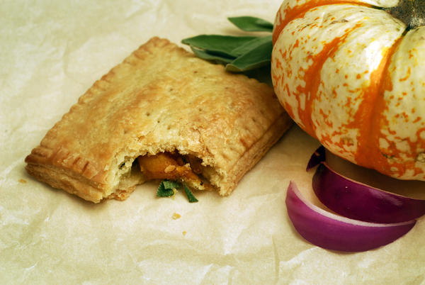 Put a homemade spin on pop tarts while satisfying our grown-up palates. Here, sauteed pumpkin, onion and sage pop tart.