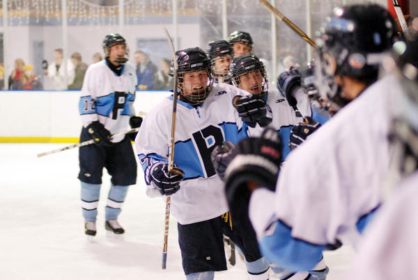 Petoskey senior forward Tanner Davis (middle) is among nine returning senior letter winners who return to the ice for the Northmen and second-year coach Brent Ward. Petoskey opens the 2012-13 season on Friday, Nov. 16, at 7 p.m. at Griffin Arena against the Mid-Michigan Storm in a Northern Michigan Hockey League contest.