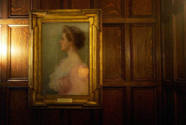 A pastel painting of Mabel Johnson, the former owner who donated the home to the diocese, hangs in a prominent location of the first floor foyer.