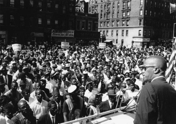Malcolm X speaks to a crowd in Harlem in New York City on June 29, 1963. He is the subject of Manning Marable¿s biography ¿Malcolm X: A Life of Reinvention,¿ now out in an enhanced e-book version.