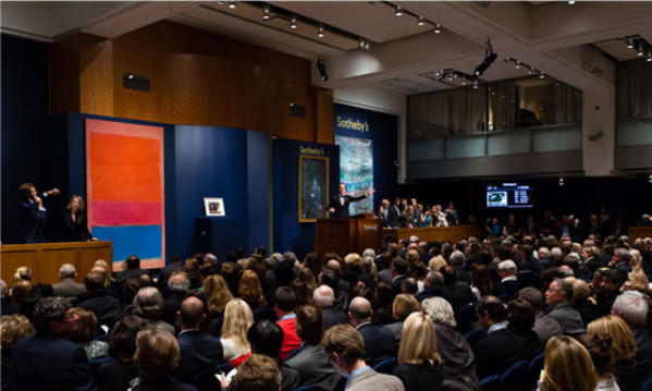 """A painting by Mark Rothko, """"No. 1 (Royal Red and Blue),"""" sold for $75.1 million at an auction in New York on Tuesday."""