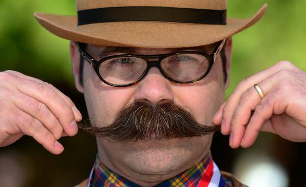 Adam Orcutt from Michigan City, Ind., grabbed first place in the natural mustache category.