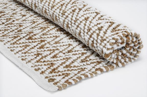 Our pick at Kohl's: small accent rugs, which frequently go on sale. This 24-by-40-inch jute and chenille accent rug with an exaggerated chevron pattern had a nice texture and a finished look. Regular price: $39.99. We bought ours for $15.99.