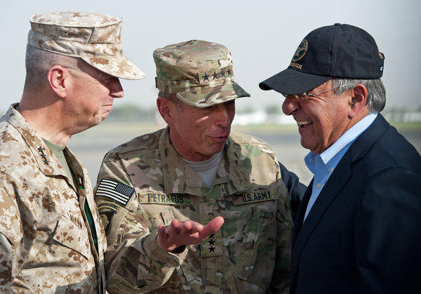 Gen. John Allen, left, and Gen. David Petraeus, center, with Leon Panetta in Afghanistan.