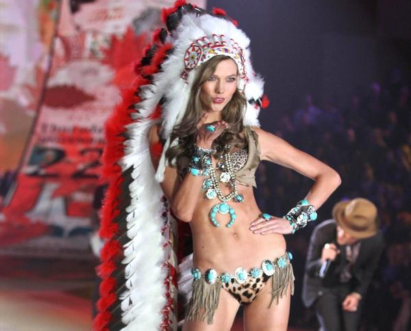 A Victoria's Secret model got into a little hot water with her headwear.