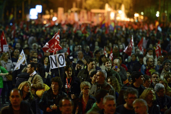 Protesters turn out in Madrid for a general strike over austerity measures.