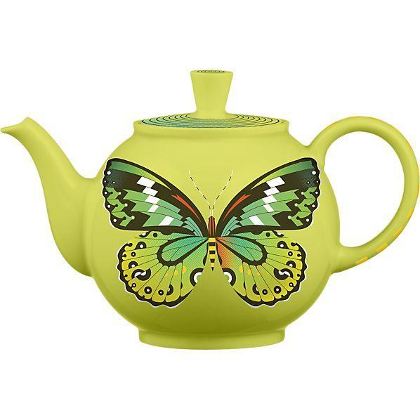 Husband-and-wife design team Jeff Barfoot and Shay Ometz transfer their monolithic butterfly designs to porcelain for this Crate & Barrel teapot.