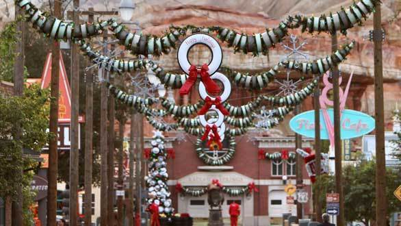 Holiday decorations in Cars Land at Disney California Adventure.