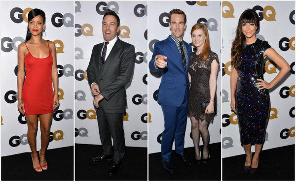 Attendees at GQ magazine's annual Men of the Year Party included, from left, Rihanna, Ben Affleck, James and Kimberly Van Der Beek and Hannah Simone.