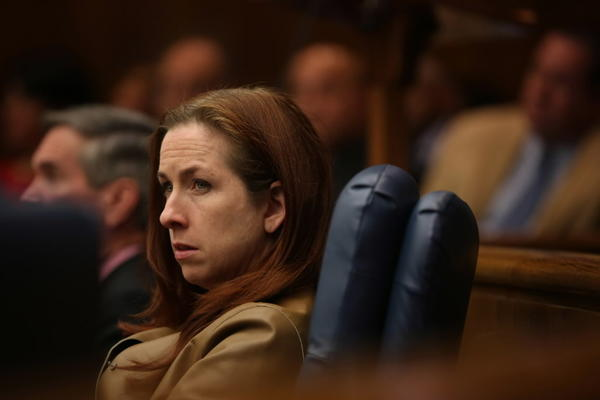 Cook County Commissioner Bridget Gainer, D-Chicago, seen here last month, pushed through a measure today cutting the pay of some political appointees.
