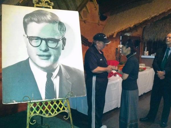 A portrait of Art Snyder during his celebration of life at Don the Beachcomber.